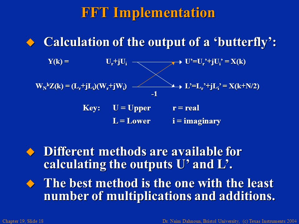 FFT Implementation Calculation of the output of a 'butterfly':