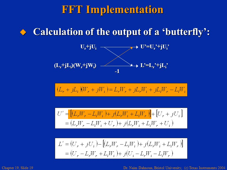 FFT Implementation Calculation of the output of a 'butterfly': Ur+jUi