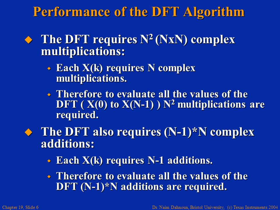 Performance of the DFT Algorithm