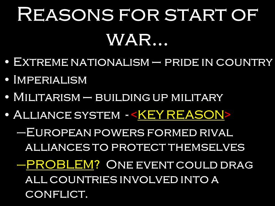 Reasons for start of war…