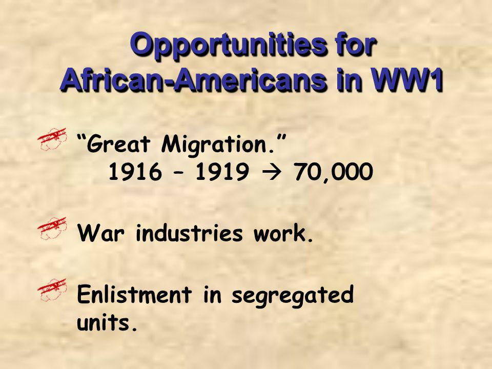 Opportunities for African-Americans in WW1