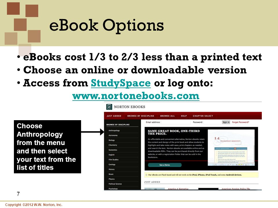 eBook Options eBooks cost 1/3 to 2/3 less than a printed text