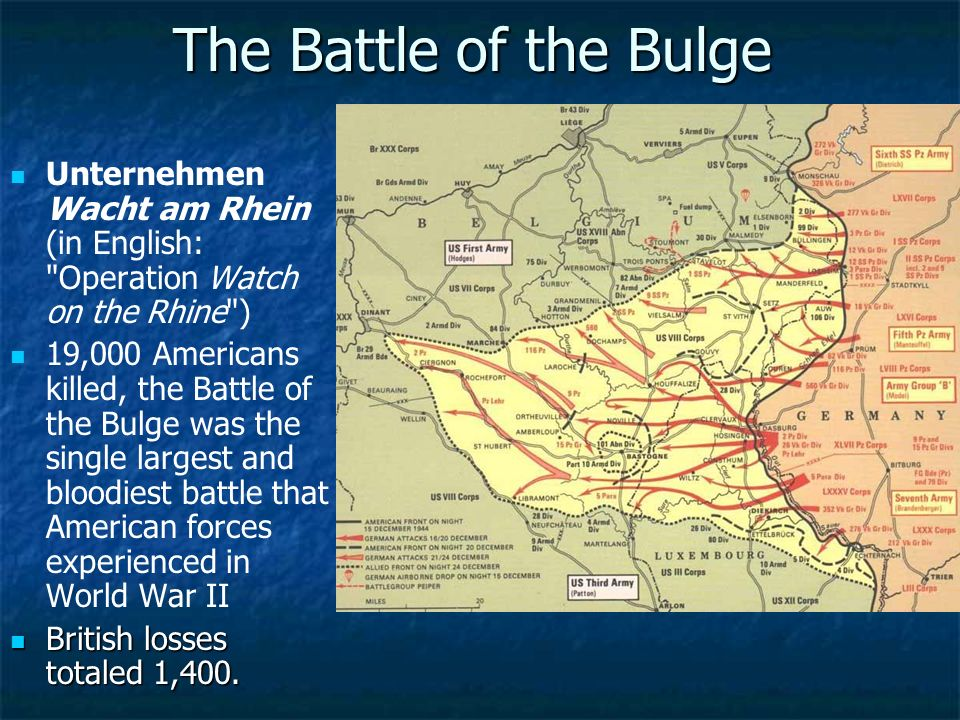 The Battle of the Bulge Unternehmen Wacht am Rhein (in English: Operation Watch on the Rhine )