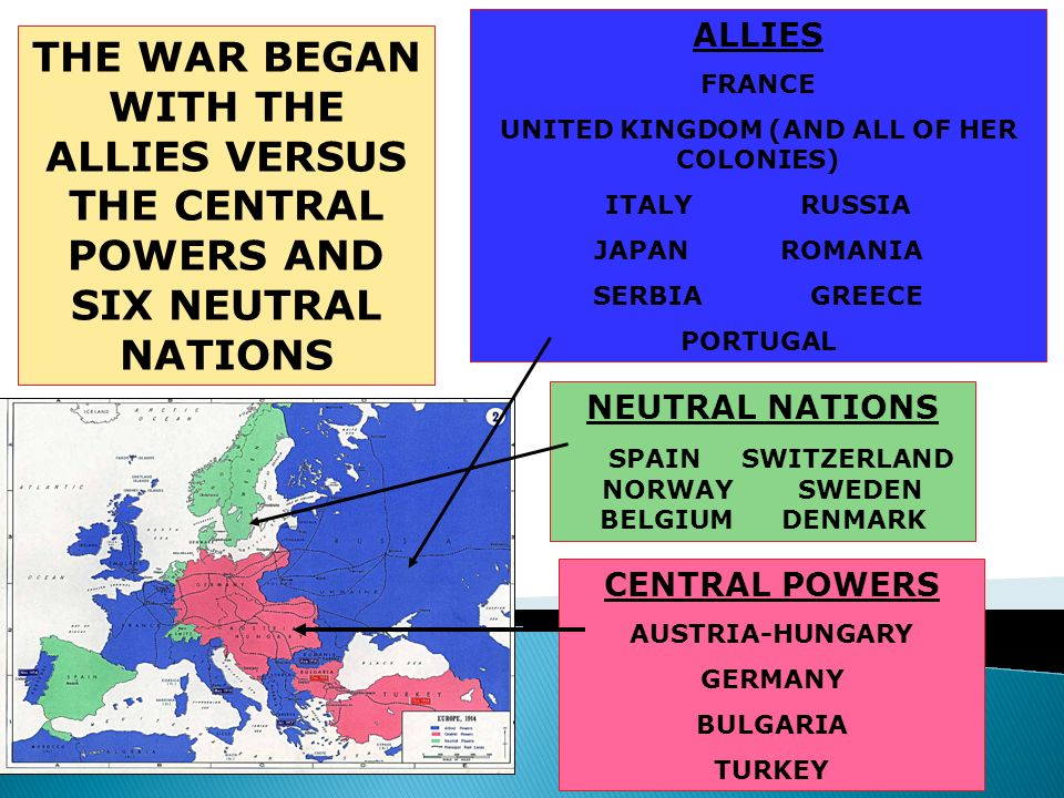 ALLIES FRANCE. UNITED KINGDOM (AND ALL OF HER COLONIES) ITALY RUSSIA. JAPAN ROMANIA.
