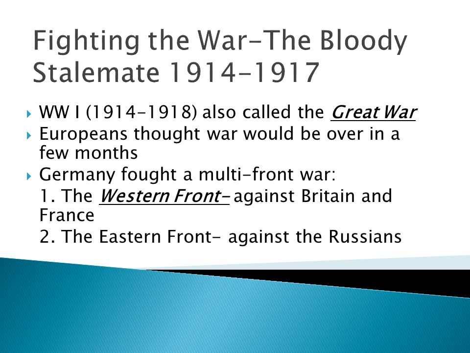 Fighting the War-The Bloody Stalemate 1914-1917