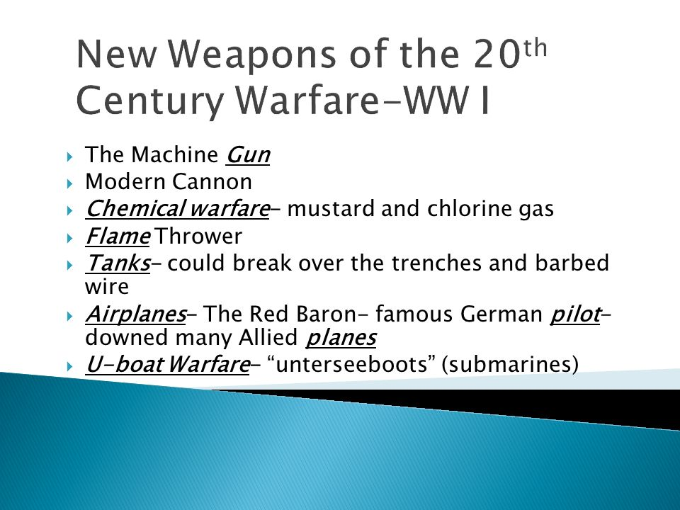 New Weapons of the 20th Century Warfare-WW I