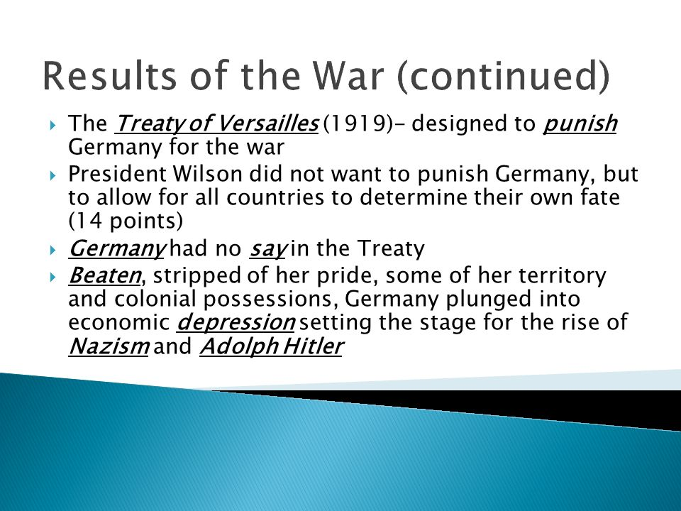 Results of the War (continued)
