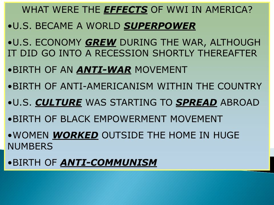 WHAT WERE THE EFFECTS OF WWI IN AMERICA