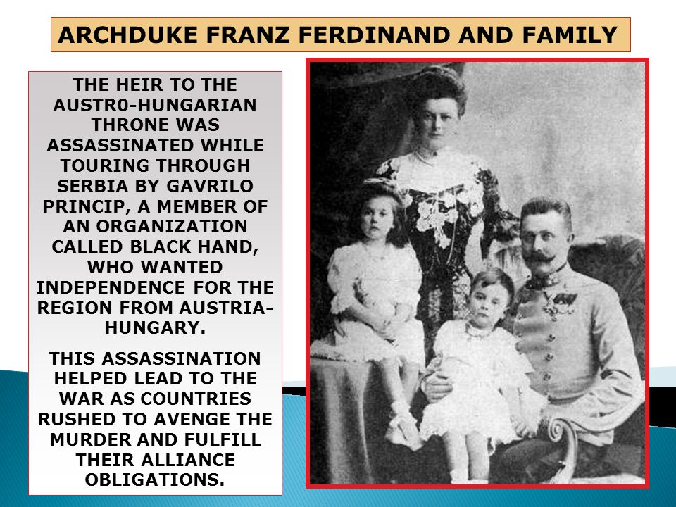 ARCHDUKE FRANZ FERDINAND AND FAMILY