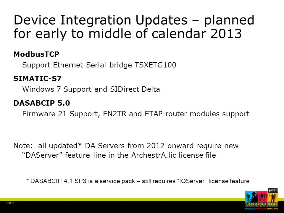 Device Integration Updates – planned for early to middle of calendar 2013