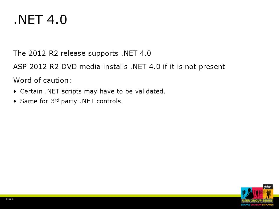 .NET 4.0 The 2012 R2 release supports .NET 4.0