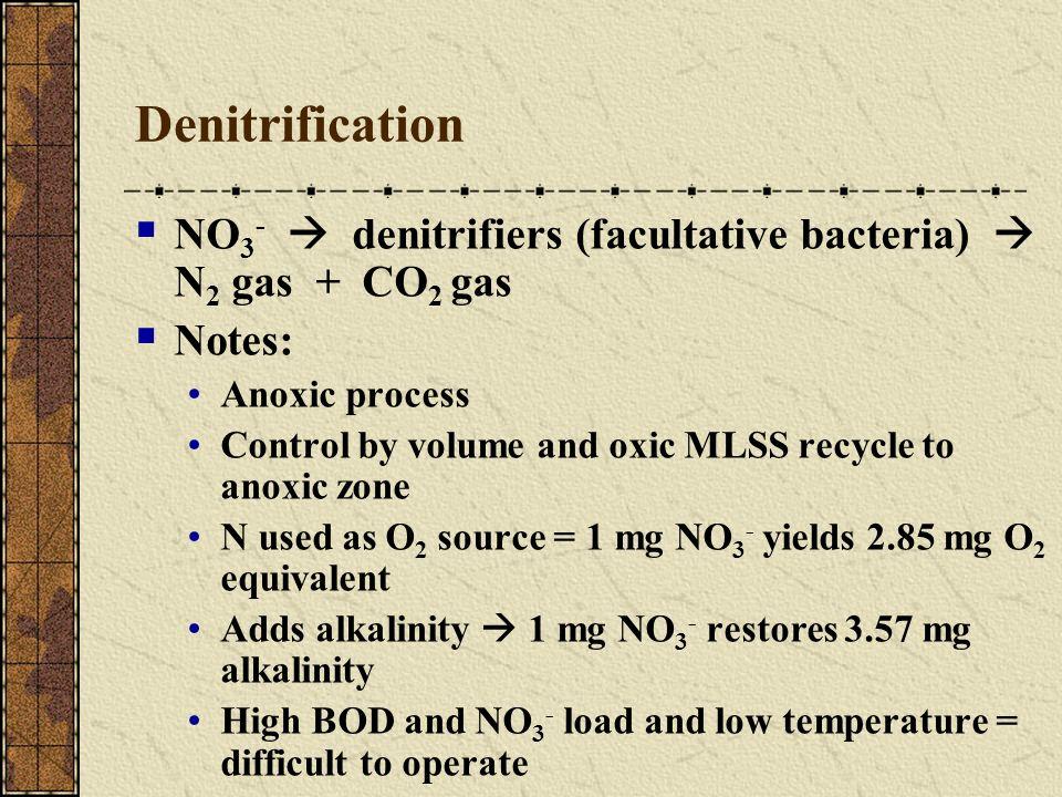 Denitrification NO3-  denitrifiers (facultative bacteria)  N2 gas + CO2 gas. Notes: Anoxic process.