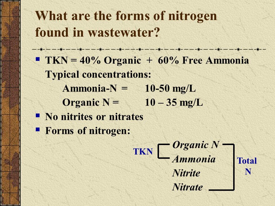 What are the forms of nitrogen found in wastewater