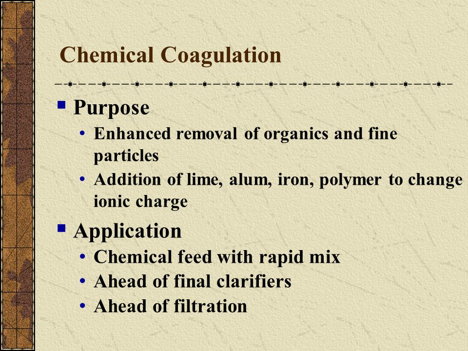Chemical Coagulation Purpose Application Chemical feed with rapid mix