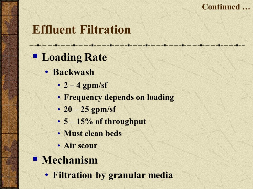 Effluent Filtration Loading Rate Mechanism Backwash
