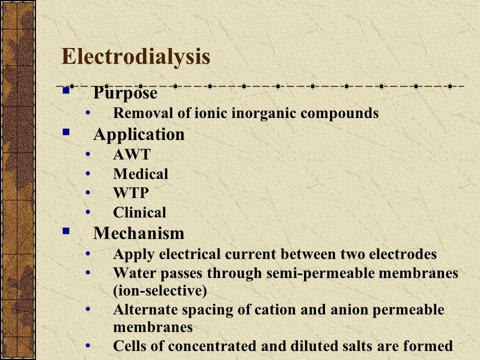 Electrodialysis Purpose Application Mechanism