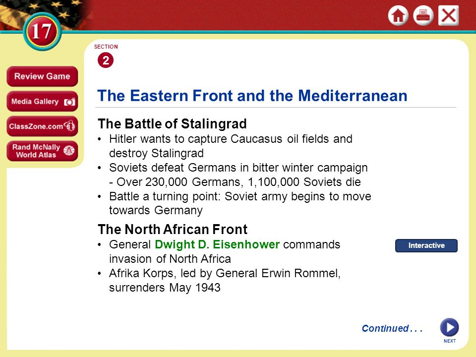 The Eastern Front and the Mediterranean