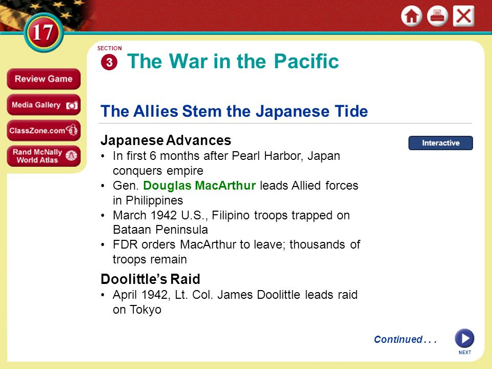 The War in the Pacific The Allies Stem the Japanese Tide