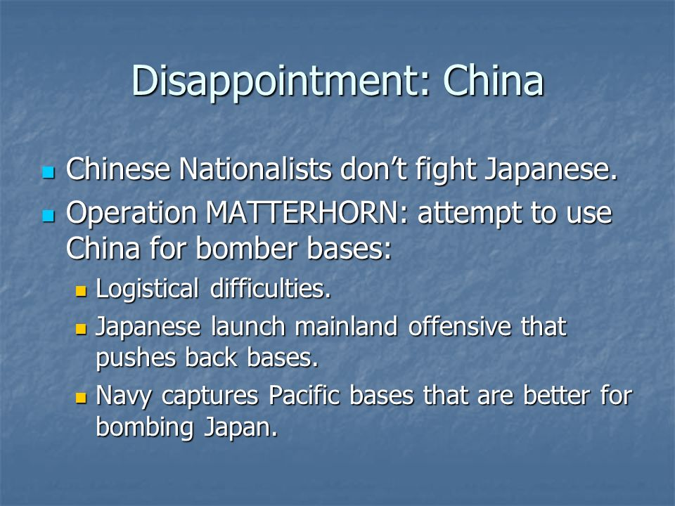 Disappointment: China