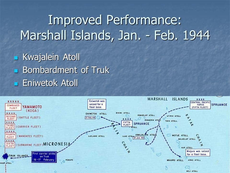 Improved Performance: Marshall Islands, Jan. - Feb. 1944