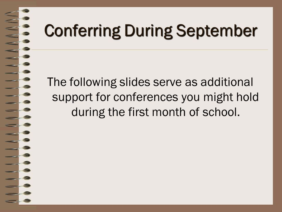 Conferring During September