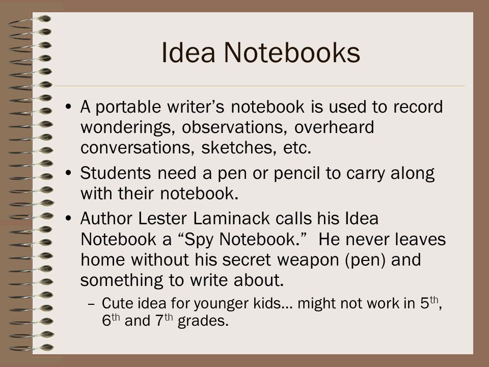 Idea Notebooks A portable writer's notebook is used to record wonderings, observations, overheard conversations, sketches, etc.