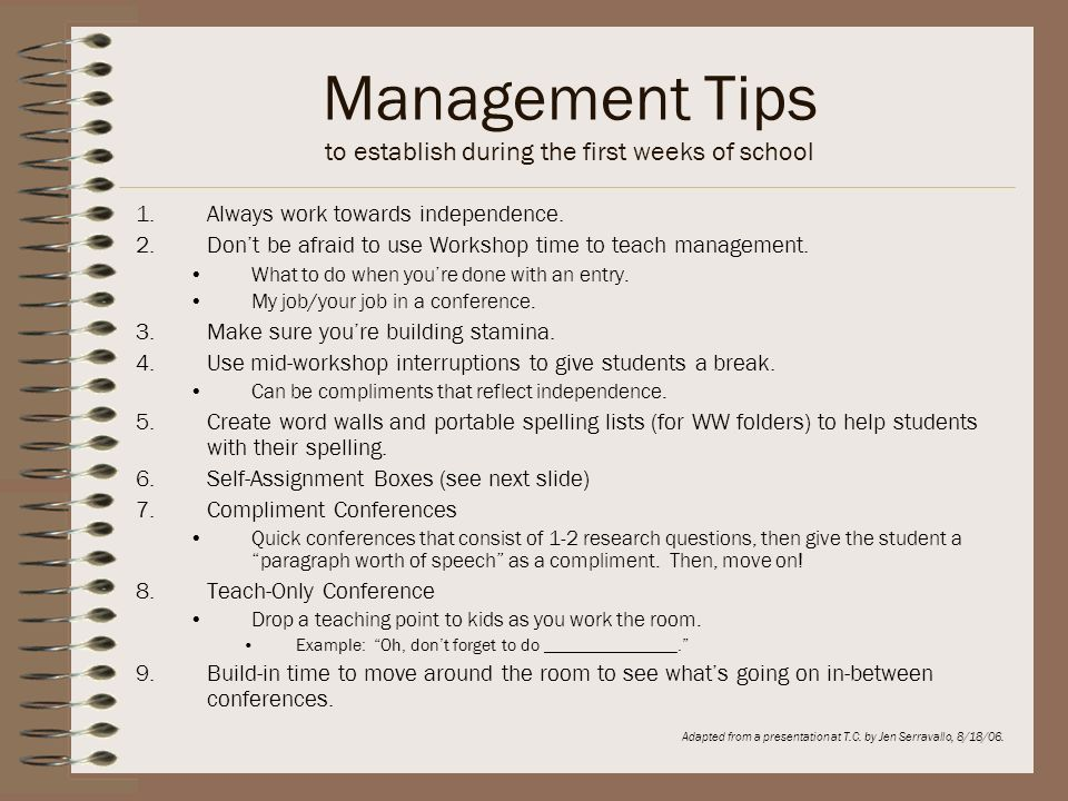 Management Tips to establish during the first weeks of school