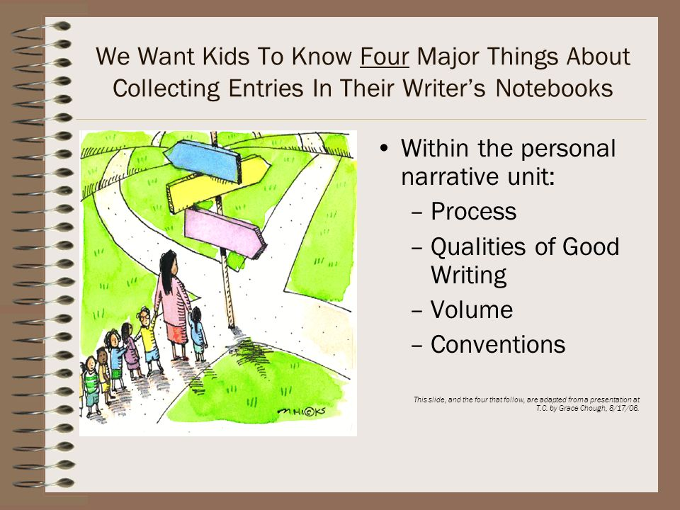 Within the personal narrative unit: Process Qualities of Good Writing