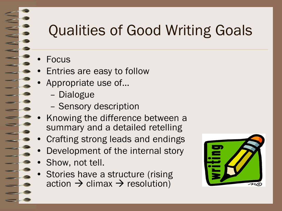 Qualities of Good Writing Goals
