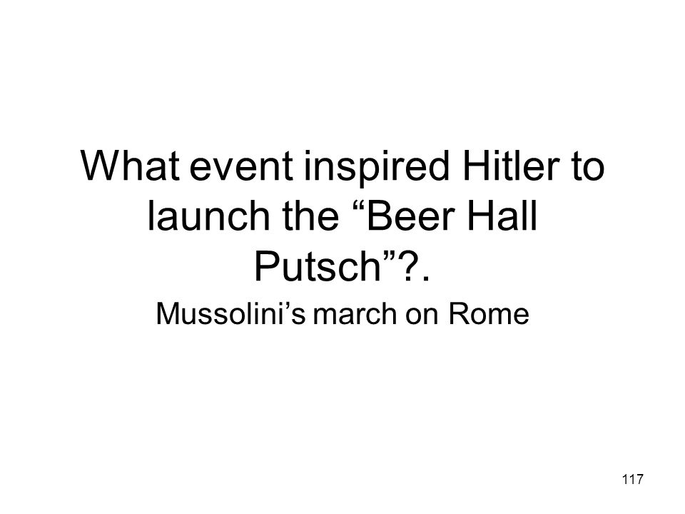 What event inspired Hitler to launch the Beer Hall Putsch .