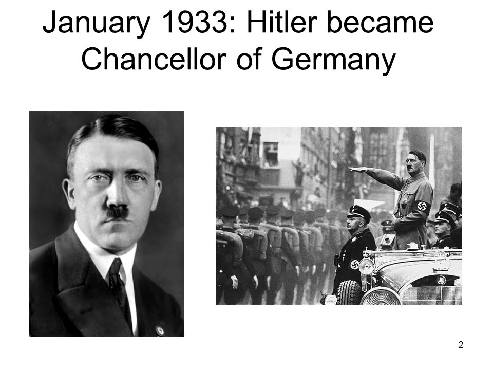 January 1933: Hitler became Chancellor of Germany