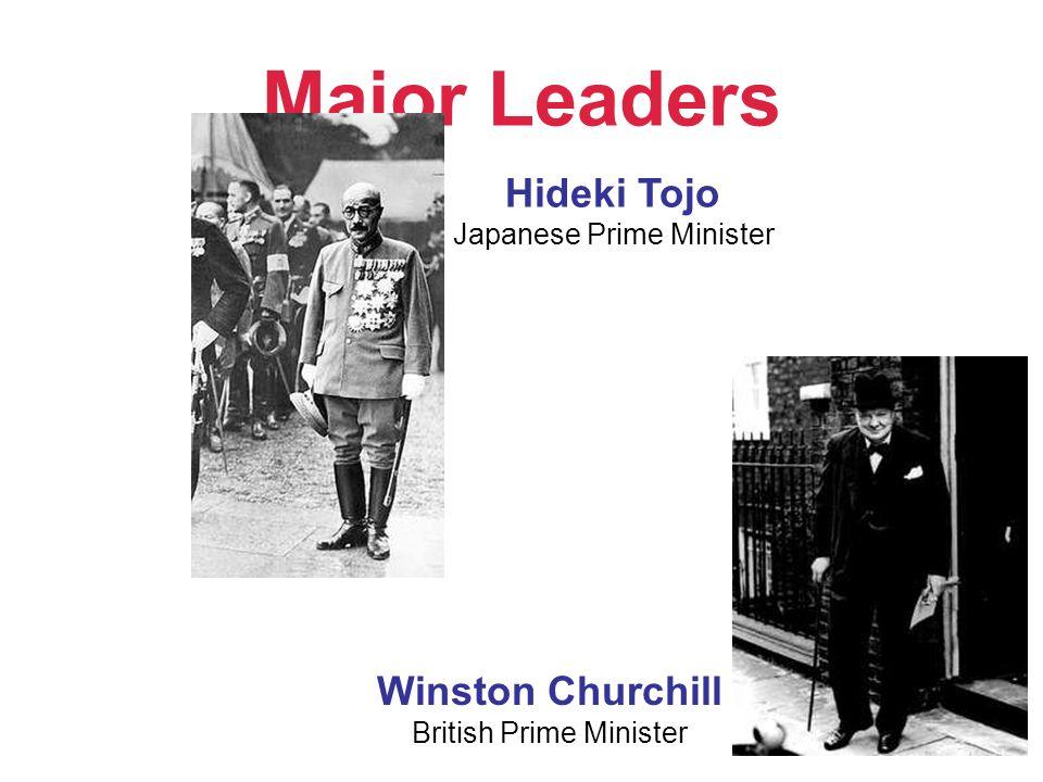 Major Leaders Hideki Tojo Winston Churchill Japanese Prime Minister