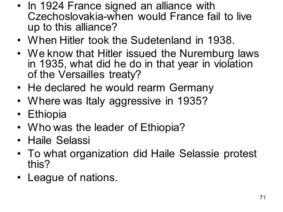 In 1924 France signed an alliance with Czechoslovakia-when would France fail to live up to this alliance