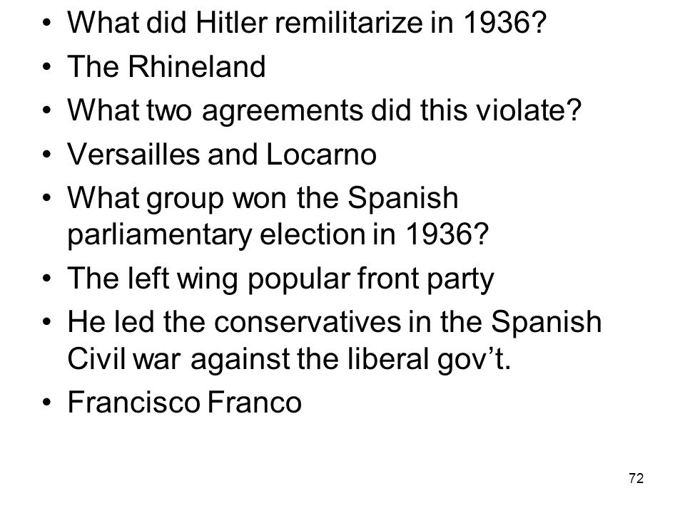What did Hitler remilitarize in 1936