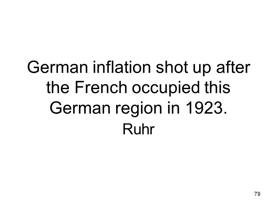 German inflation shot up after the French occupied this German region in 1923.
