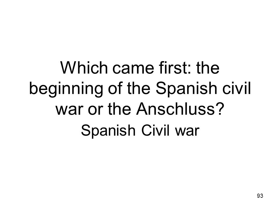 Which came first: the beginning of the Spanish civil war or the Anschluss