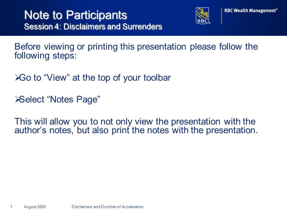 Note to Participants Session 4: Disclaimers and Surrenders