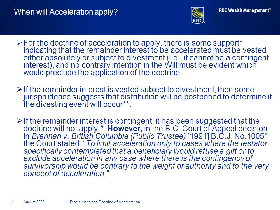 When will Acceleration apply