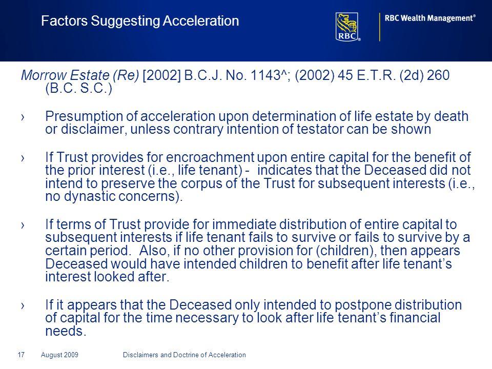 Factors Suggesting Acceleration