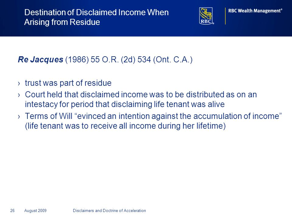 Destination of Disclaimed Income When Arising from Residue