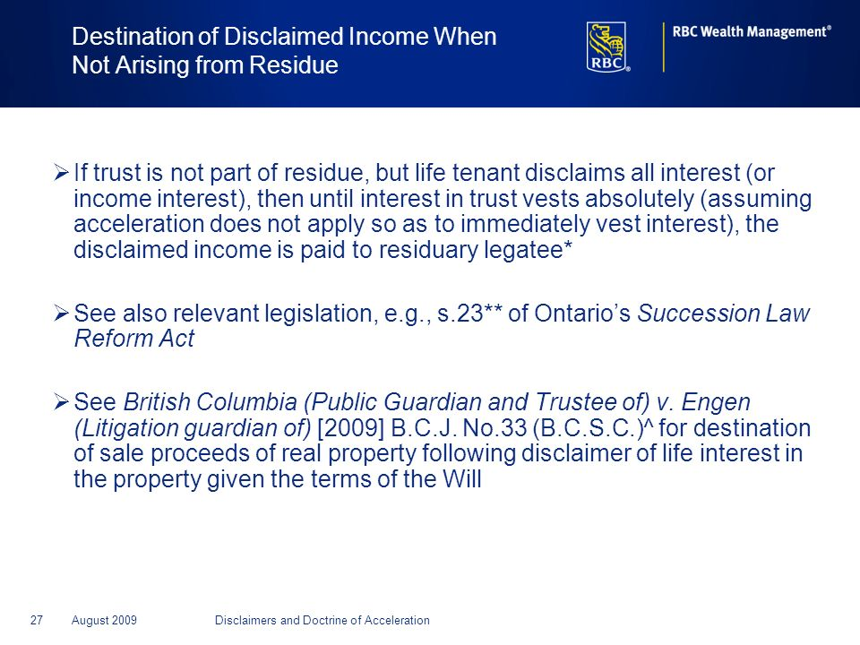 Destination of Disclaimed Income When Not Arising from Residue