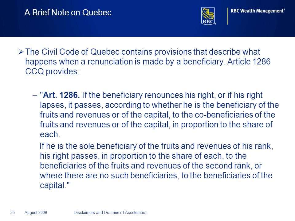 A Brief Note on Quebec