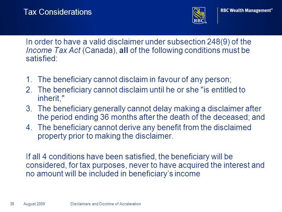 The beneficiary cannot disclaim in favour of any person;