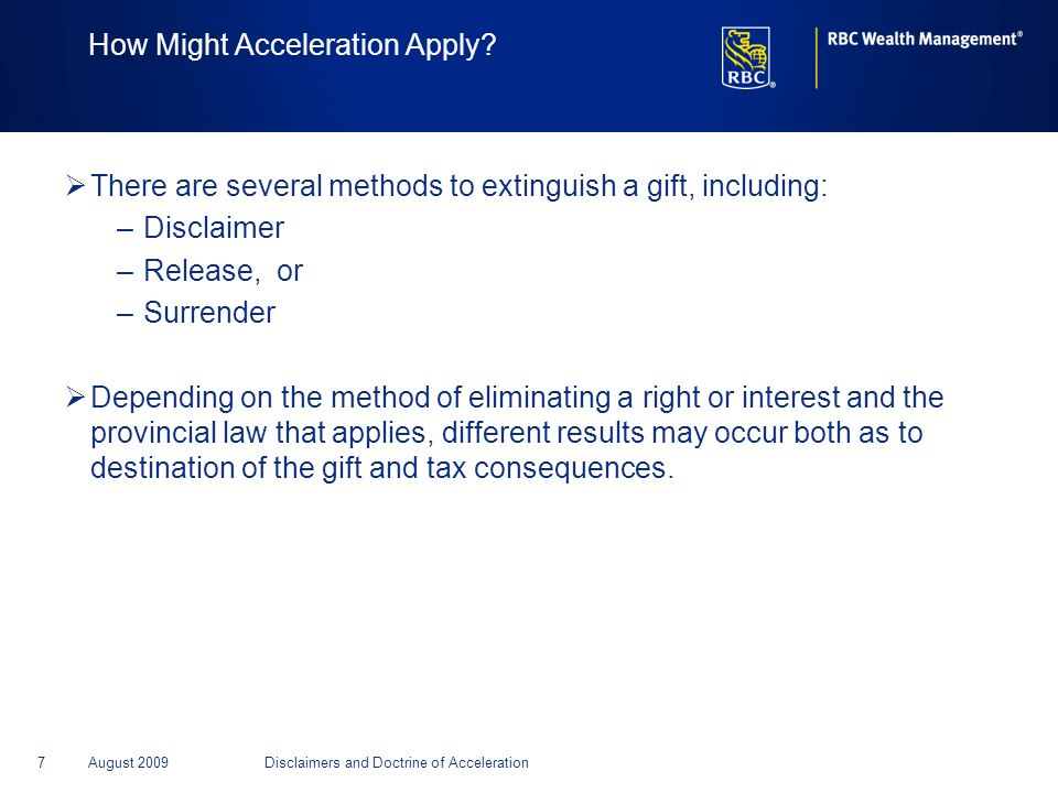 How Might Acceleration Apply