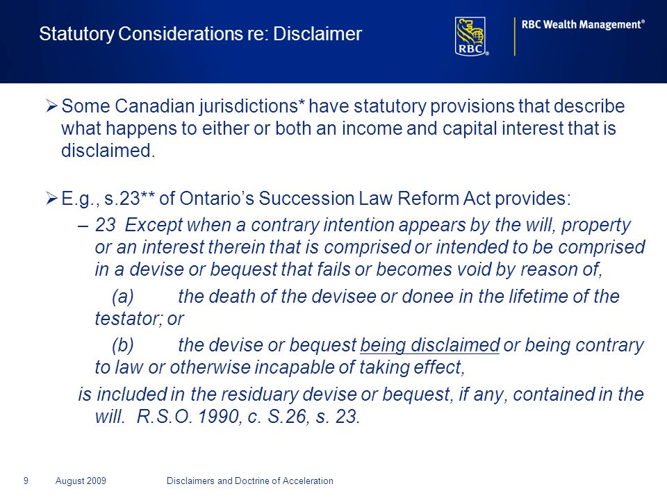 Statutory Considerations re: Disclaimer