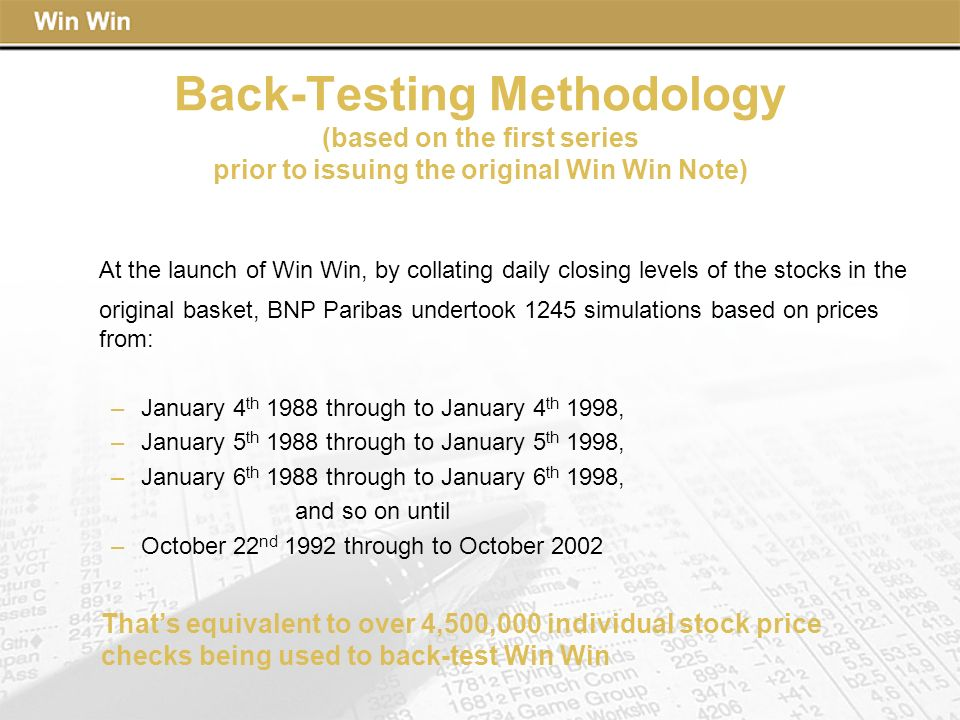 Back-Testing Methodology (based on the first series prior to issuing the original Win Win Note)