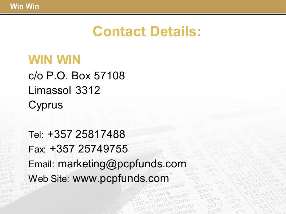 Contact Details: WIN WIN c/o P.O. Box 57108 Limassol 3312 Cyprus