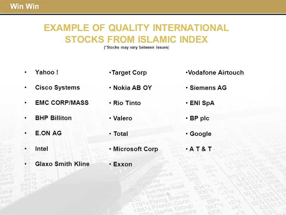 EXAMPLE OF QUALITY INTERNATIONAL STOCKS FROM ISLAMIC INDEX (