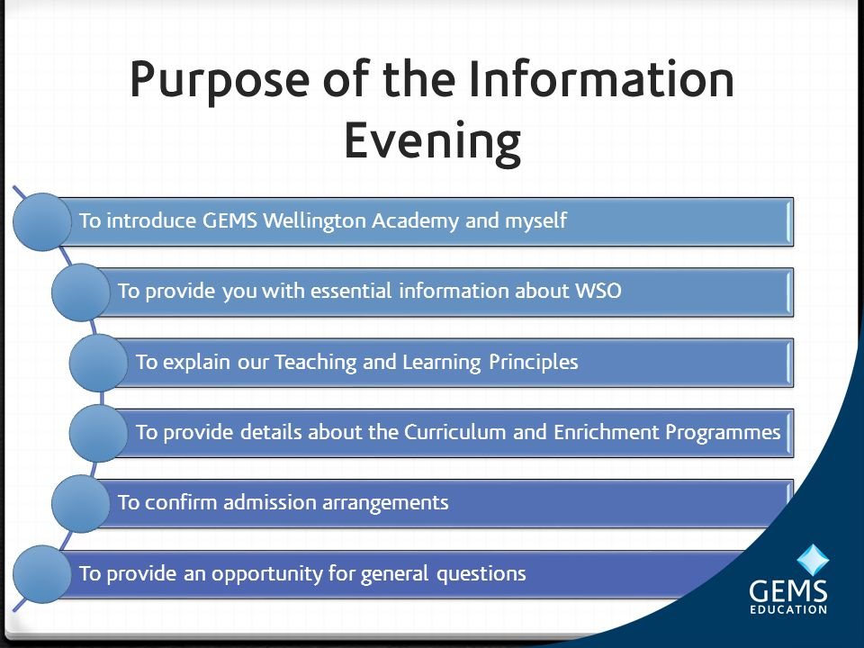 Purpose of the Information Evening