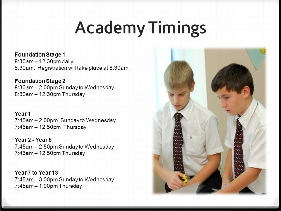 Academy Timings Foundation Stage 1 8:30am – 12:30pm daily